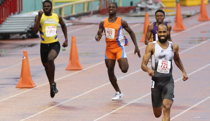 Machel Cedenio easily wins the men's 400m final at the 2019 NGC/NAAA National Open Championships with a time of 44:52 seconds, at the Hasely Crawford Stadium in Port of Spain, yesterday.